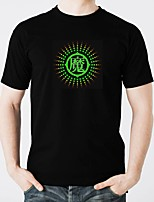 cheap -LED T-shirts Lighting Fashionable Design Electro Luminescent Glow in the Dark Sound-Activated Pure Cotton Party Casual 2 AAA Batteries
