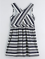 cheap -Girl's Daily Striped Dress Summer Cute Basic Black