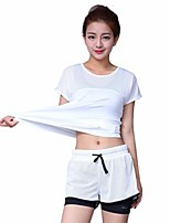 cheap -Women's Running T-Shirt with Pants Short Sleeve Quick Dry, Breathability Clothing Suits for Cotton, Polyester, Nylon White / Black M / L