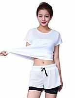 abordables -Femme Col Ras du Cou Maille Tee-shirt et Pantalons de Course - Blanc, Noir Des sports Ensemble de Vêtements Manches Courtes Tenues de