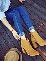 baratos -Mulheres Sapatos Couro Ecológico Outono Inverno Coturnos Botas Salto Robusto Dedo Apontado Botas Curtas / Ankle para Preto Camel