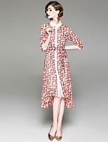 Недорогие -Жен. Классический С летящей юбкой Платье - Цветочный принт, С принтом До колена