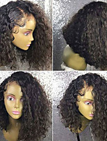 cheap -Remy Human Hair Lace Front Wig Wig Brazilian Hair Curly 150% Density With Baby Hair / Natural Hairline / African American Wig Women's Short / Long / Mid Length Human Hair Lace Wig