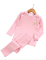 cheap -Girls' Daily Solid Colored Clothing Set, Cotton Spring Long Sleeves Basic Blushing Pink