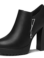 abordables -Mujer Zapatos PU microfibra sintético Otoño / Invierno Gladiador / Pump Básico Tacones Tacón Cuadrado Dedo Puntiagudo Negro / Rojo