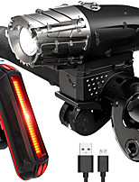 cheap -Bike Lights LED LED Cycling Waterproof Lightweight Rechargeable Battery 800lm Lumens Rechargeable Battery White Cycling/Bike