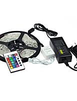 Недорогие -1x5M RGB ленты 300pcs светодиоды 1 пульт дистанционного управления 24Keys 1 адаптер питания X 5A RGB Можно резать Водонепроницаемый