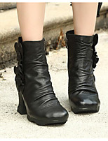 cheap -Women's Shoes Cowhide Nappa Leather Fall Winter Fashion Boots Boots Chunky Heel Booties / Ankle Boots for Black Coffee