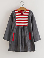 cheap -Girl's Daily Striped Patchwork Dress, Rayon Spring Fall Long Sleeves Cute Red Blushing Pink Yellow