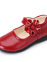 cheap -Girls' Shoes Leather Spring Fall Flower Girl Shoes Comfort Flats for Casual Black Red Pink