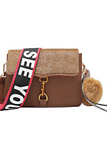 cheap -Women's Bags PU Shoulder Bag Feathers / Fur for Casual Fall Winter Black Red Brown