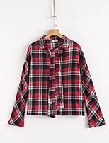cheap -Women's Vintage Puff Sleeve Cotton Blouse - Houndstooth, Tassel Shirt Collar