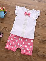 cheap -Girls' Polka Dot Short Sleeves Clothing Set