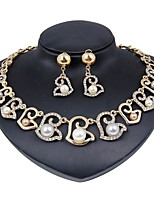 cheap -Women's Imitation Pearl Gold Plated Floral Jewelry Set 1 Necklace Earrings - Floral Fashion Gold Jewelry Set Bridal Jewelry Sets For