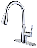 cheap -Kitchen faucet - Contemporary Standing Style Chrome Pull-out / ­Pull-down Vessel