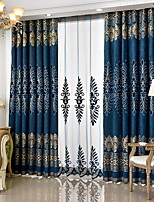 cheap -Curtains Drapes Living Room Geometric Cotton / Polyester Embroidery