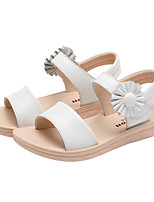 cheap -Girls' Shoes Cowhide Summer Comfort Sandals Hook & Loop for Casual Outdoor White Pink