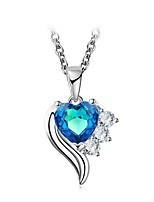 cheap -Women's Heart Cubic Zirconia Rhinestone Sterling Silver Crystal Choker Necklace Pendant Necklace - Classic Vintage Elegant Flower Heart