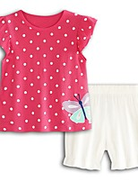 cheap -Girls' Going out Holiday Polka Dot Print Clothing Set, Cotton Acrylic Spring Summer Short Sleeves Cute Active Fuchsia