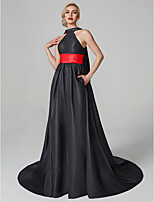 cheap -A-Line Princess Halter Court Train Satin Formal Evening Dress with Sash / Ribbon Pleats Tassel by TS Couture®