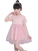 cheap -Girl's Daily Solid Colored Dress, Polyester Summer Short Sleeves Basic Blushing Pink
