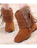 cheap -Women's Shoes PU Fall Winter Snow Boots Boots Wedge Heel Booties / Ankle Boots for Black Light Brown Khaki