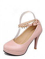 cheap -Women's Shoes Leatherette Spring / Fall Comfort / Novelty Heels Stiletto Heel Round Toe Buckle Beige / Blue / Pink / Party & Evening