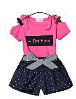 cheap -Toddler Girls' Polka Dot Short Sleeves Clothing Set