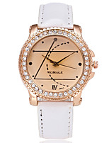 cheap -Women's Quartz Simulated Diamond Watch Fashion Watch Casual Watch Chinese Imitation Diamond Casual Watch PU Band Casual Fashion Black