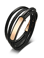cheap -Men's Leather Cool Leather Bracelet Wrap Bracelet - Casual Fashion Circle Black Bracelet For Daily Going out