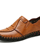 cheap -Men's Shoes Leather Spring Summer Driving Shoes Moccasin Loafers & Slip-Ons for Casual Outdoor Black Light Brown Dark Brown