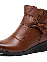 cheap -Women's Shoes Cowhide Fall Winter Bootie Comfort Boots Wedge Heel Booties / Ankle Boots for Black Brown
