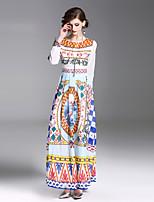 Недорогие -Жен. Классический Уличный стиль Оболочка Платье - Цветочный принт Геометрический принт, С принтом Средней длины