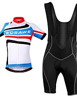 cheap -WOSAWE Cycling Jersey with Bib Shorts - Blue / White Bike Bib Shorts Jersey Clothing Suits, Breathable, Reflective Strips, Spring Summer,