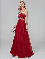 cheap -A-Line Spaghetti Straps Floor Length Crepe Prom / Formal Evening Dress with Beading Ruffles by TS Couture®