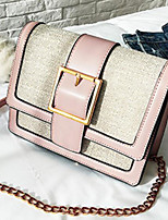 cheap -Women's Bags PU Shoulder Bag Buttons for Casual Spring Fall Black Blushing Pink Wine