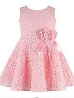 cheap -Girl's Daily Holiday Solid Colored Floral Jacquard Dress, Rayon Polyester Spring Summer Sleeveless Cute Basic White Red Blushing Pink