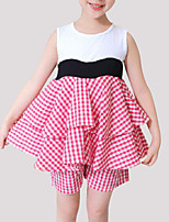 cheap -Girls' Plaid Patchwork Sleeveless Clothing Set