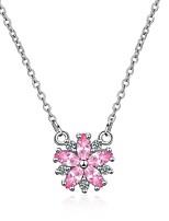 abordables -Femme Adorable Fleur Zircon Zircon Pendentif de collier  -  Mode Coréen Forme de Cercle Arc-en-ciel 45cm Colliers Tendance Pour Cadeau