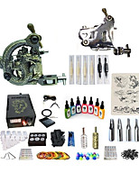 cheap -Tattoo Machine Starter Kit 1 steel machine liner & shader 1 carved machine liner & shader Variable Speeds Adjustable LCD power supply 1 x