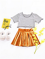 cheap -Girls' Daily Striped Clothing Set, Polyester Spring Summer Short Sleeves Cute Gold