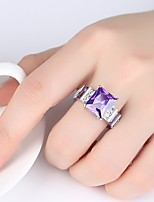 cheap -Women's Band Ring Cubic Zirconia Rhinestone Purple Austria Crystal Circle Classic Vintage Elegant Wedding Engagement Ceremony Costume