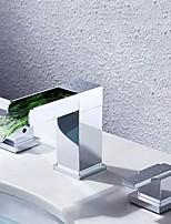 abordables -Robinet lavabo - Jet pluie LED Chrome Diffusion large Deux poignées trois trous