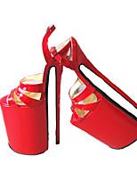 Недорогие -Жен. Обувь Полиуретан Лето Туфли лодочки Обувь на каблуках На шпильке Открытый мыс Черный / Красный / Для вечеринки / ужина