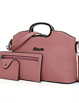 cheap -Women's Bags PU Leather Bag Set 3 Pcs Purse Set Embossed for Office & Career Red / Blushing Pink / Gray