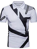 preiswerte -Herrn Geometrisch Einfarbig - Street Schick Polo Schwarz & Weiß