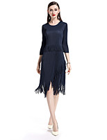 cheap -8CFAMILY Women's Simple Basic Sheath Dress - Solid Colored, Pleated Tassel