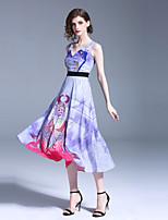 Недорогие -Жен. Уличный стиль А-силуэт Платье - Геометрический принт, С принтом Средней длины