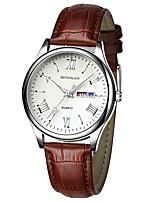 Недорогие -Муж. Кварцевый Модные часы Японский Календарь Светящийся Натуральная кожа Группа На каждый день Черный Коричневый