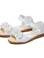 cheap -Girls' Shoes Leatherette Summer Fall Comfort Sandals Imitation Pearl Hook & Loop for Wedding Party & Evening White Pink